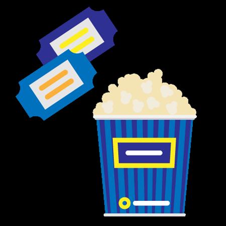 2 entradas al cine y unas palomitas grandes (sin refresco)
